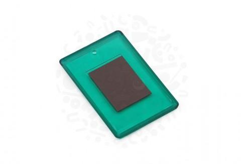 Заготовка акрилового магнита прямоугольная (зеленая) 52х77 мм.