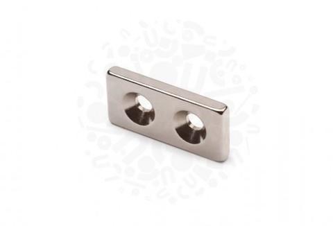 Неодимовый магнит прямоугольник с зенковкой 25 х 12 х 3 (d 3,5/7 х 2)