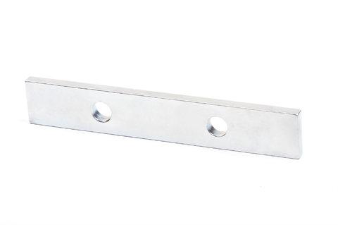 Неодимовый магнит прямоугольник 118х20х5 мм с двумя отверстиями D8.2 мм N42M